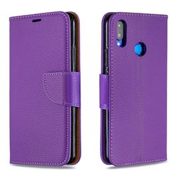 Classic Luxury Litchi Leather Phone Wallet Case for Huawei Nova 3i - Purple