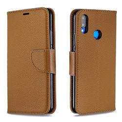 Classic Luxury Litchi Leather Phone Wallet Case for Huawei Nova 3i - Brown