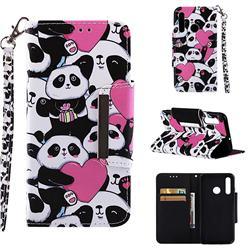 Heart Panda Big Metal Buckle PU Leather Wallet Phone Case for Huawei Nova 3i