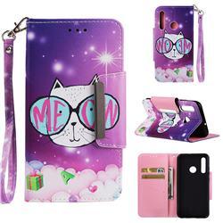 Glasses Cat Big Metal Buckle PU Leather Wallet Phone Case for Huawei Nova 3i