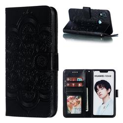 Intricate Embossing Datura Solar Leather Wallet Case for Huawei Nova 3i - Black