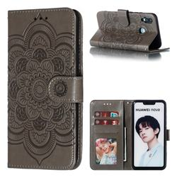 Intricate Embossing Datura Solar Leather Wallet Case for Huawei Nova 3i - Gray