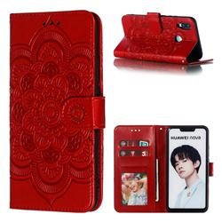 Intricate Embossing Datura Solar Leather Wallet Case for Huawei Nova 3i - Red