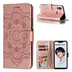 Intricate Embossing Datura Solar Leather Wallet Case for Huawei Nova 3i - Rose Gold