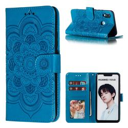 Intricate Embossing Datura Solar Leather Wallet Case for Huawei Nova 3i - Blue