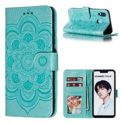 Intricate Embossing Datura Solar Leather Wallet Case for Huawei Nova 3i - Green