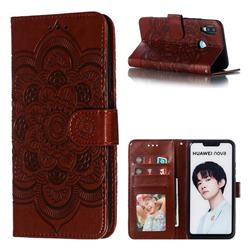 Intricate Embossing Datura Solar Leather Wallet Case for Huawei Nova 3i - Brown