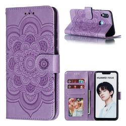 Intricate Embossing Datura Solar Leather Wallet Case for Huawei Nova 3i - Purple