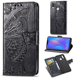 Embossing Mandala Flower Butterfly Leather Wallet Case for Huawei Nova 3i - Black