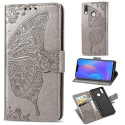 Embossing Mandala Flower Butterfly Leather Wallet Case for Huawei Nova 3i - Gray