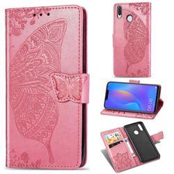 Embossing Mandala Flower Butterfly Leather Wallet Case for Huawei Nova 3i - Pink