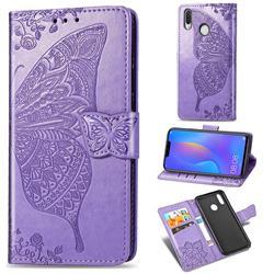 Embossing Mandala Flower Butterfly Leather Wallet Case for Huawei Nova 3i - Light Purple