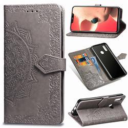 Embossing Imprint Mandala Flower Leather Wallet Case for Huawei Nova 3i - Gray