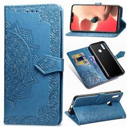 Embossing Imprint Mandala Flower Leather Wallet Case for Huawei Nova 3i - Blue