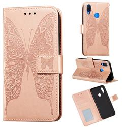 Intricate Embossing Vivid Butterfly Leather Wallet Case for Huawei Nova 3i - Rose Gold