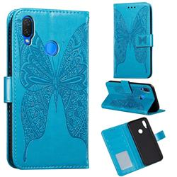Intricate Embossing Vivid Butterfly Leather Wallet Case for Huawei Nova 3i - Blue