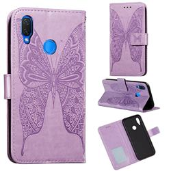 Intricate Embossing Vivid Butterfly Leather Wallet Case for Huawei Nova 3i - Purple