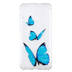 Blue butterfly Anti-fall Clear Varnish Soft TPU Back Cover for Huawei nova 4