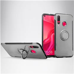 Armor Anti Drop Carbon PC + Silicon Invisible Ring Holder Phone Case for Huawei nova 4 - Silver