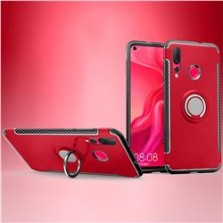 Armor Anti Drop Carbon PC + Silicon Invisible Ring Holder Phone Case for Huawei nova 4 - Red