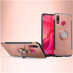 Armor Anti Drop Carbon PC + Silicon Invisible Ring Holder Phone Case for Huawei nova 4 - Rose Gold
