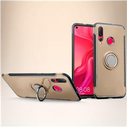 Armor Anti Drop Carbon PC + Silicon Invisible Ring Holder Phone Case for Huawei nova 4 - Champagne