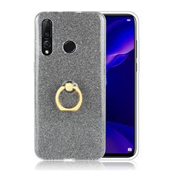 Luxury Soft TPU Glitter Back Ring Cover with 360 Rotate Finger Holder Buckle for Huawei nova 4 - Black