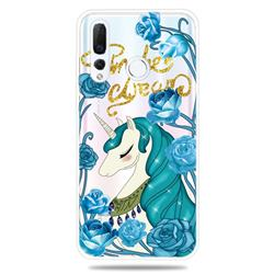 Blue Flower Unicorn Clear Varnish Soft Phone Back Cover for Huawei nova 4