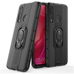 Alita Battle Angel Armor Metal Ring Grip Shockproof Dual Layer Rugged Hard Cover for Huawei nova 4 - Black