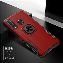 Knight Armor Anti Drop PC + Silicone Invisible Ring Holder Phone Cover for Huawei nova 4 - Red