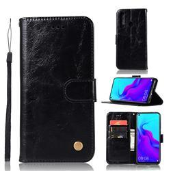 Luxury Retro Leather Wallet Case for Huawei nova 4 - Black