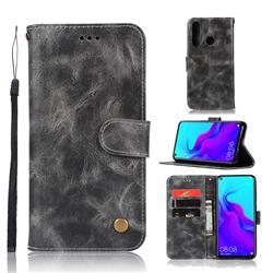 Luxury Retro Leather Wallet Case for Huawei nova 4 - Gray