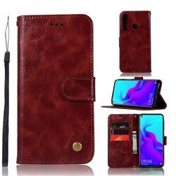 Luxury Retro Leather Wallet Case for Huawei nova 4 - Wine Red