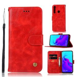 Luxury Retro Leather Wallet Case for Huawei nova 4 - Red