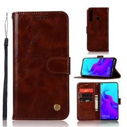 Luxury Retro Leather Wallet Case for Huawei nova 4 - Brown