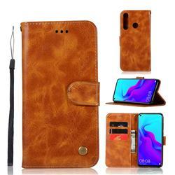 Luxury Retro Leather Wallet Case for Huawei nova 4 - Golden