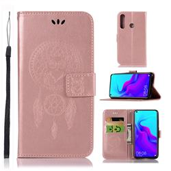 Intricate Embossing Owl Campanula Leather Wallet Case for Huawei nova 4 - Rose Gold