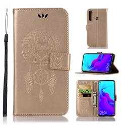 Intricate Embossing Owl Campanula Leather Wallet Case for Huawei nova 4 - Champagne