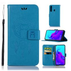 Intricate Embossing Owl Campanula Leather Wallet Case for Huawei nova 4 - Blue