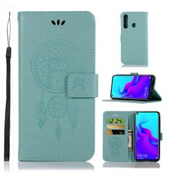 Intricate Embossing Owl Campanula Leather Wallet Case for Huawei nova 4 - Green
