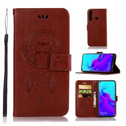 Intricate Embossing Owl Campanula Leather Wallet Case for Huawei nova 4 - Brown