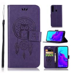 Intricate Embossing Owl Campanula Leather Wallet Case for Huawei nova 4 - Purple