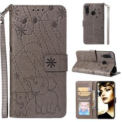Embossing Fireworks Elephant Leather Wallet Case for Huawei nova 4 - Gray
