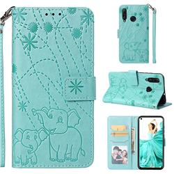 Embossing Fireworks Elephant Leather Wallet Case for Huawei nova 4 - Green