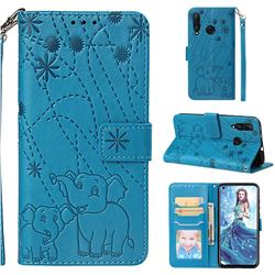 Embossing Fireworks Elephant Leather Wallet Case for Huawei nova 4 - Blue
