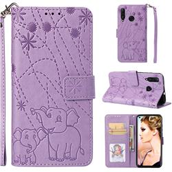 Embossing Fireworks Elephant Leather Wallet Case for Huawei nova 4 - Purple