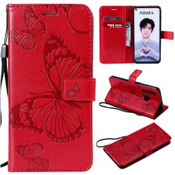 Embossing 3D Butterfly Leather Wallet Case for Huawei nova 4 - Red