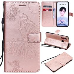 Embossing 3D Butterfly Leather Wallet Case for Huawei nova 4 - Rose Gold