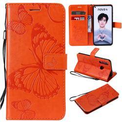Embossing 3D Butterfly Leather Wallet Case for Huawei nova 4 - Orange