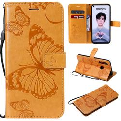 Embossing 3D Butterfly Leather Wallet Case for Huawei nova 4 - Yellow